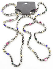 "New Colorful 38"" Rhinestone Strand Necklace by Express #N2054"
