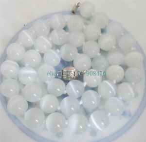 """Natural 8mm White Opal Round Beads Gemstone Necklace 18"""" AAA"""
