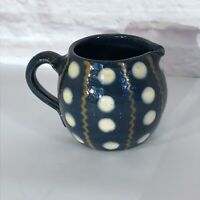 Vintage FRANCE Hand Painted Blue & White Pottery POLKA DOTS French Creamer
