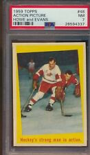 1959 Topps #48 Gordie Howe / Jack Evans - Red Wings / Blackhawks PSA 7 - NM