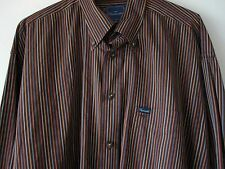 Faconnable Shirt XL Brown Striped Button Down Long Sleeves Extra Large Mens