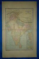 Vintage 1887 Atlas Map ~ BRITISH BURMA - INDIA ~ Old Antique Original ~ Free S&H