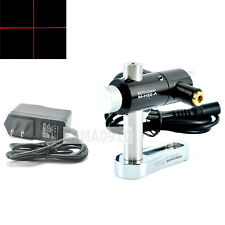 Focusable Line 80mW 650nm Red Laser Module w/12mm Two Axis Holder & 5V Adapter