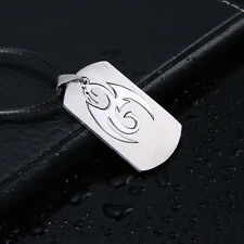 Men's Unisex Stainless Steel Leather Pendant Necklace Military Dragon L4