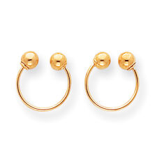 14K Yellow Gold Hollow Bead Open Hoop Earrings Screw Back Madi K Kid's Jewelry