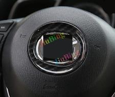 For MAZDA- 3 Axela 2014-16 Carbon Fiber Steering Wheel Logo Frame Box Cover Trim