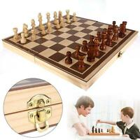 3D Foldable Wooden Chess Set Pieces Wood Checkers Board Storage Box Kids Toy GA