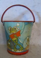 VINTAGE LITHO TIN SAND PAIL-OHIO ART, FERN BISEL PEAT, FROGS AND FISH