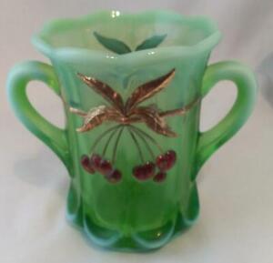 Mosser Glass Gold & Cherry Trim Vaseline Uranium Glass Spooner