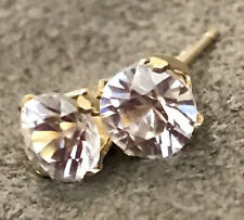 ZIRCON CHAMPAGNE EARRINGS 5mm ROUND 14k GOLD FILLED. BEST CLARITY