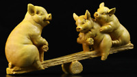 "7.1""Chinese Box-wood HandCarving Zodiac Year Animal Lucky Pig Play Seesaw Statue"