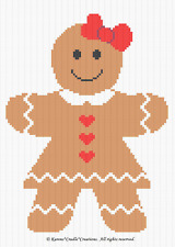 Crochet Patterns -  GINGERBREAD GIRL Graph/Chart Afghan PATTERN