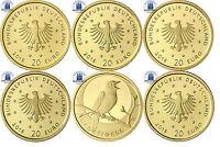 5 x 20 Euro Nachtigall Gold Deutschland 2016 Stgl Heimische Vögel  Mzz A D F G J
