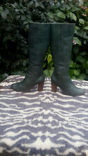 Vintage Nelson Green leather High heeled knee high boots UK size 7 EU 41