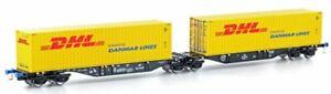 Mehano 58955 H0 Containertragwagen Sggmrss 90 schwarz m. 2x DHL Container