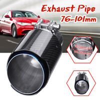 """3"""" Inlet 4"""" Outlet Carbon Fiber Car Tail Exhaust Tip Pipe Muffler End Universal"""