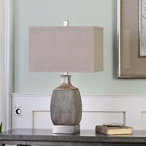 URBAN MODERN TEXTURED RUST BRONZE CERAMIC TABLE LAMP BRUSHED NICKEL METAL