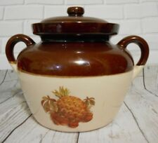 Vintage Brown Tan Pineapple Strawberry Decorated Stoneware 2 Qt Beanpot USA 342