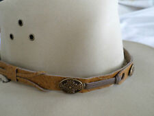 "TAN WESTERN HATBAND 5/8"" WIDE  3 CONCHO'S  OVERLAY  NEW FREE SHIPPING ADJUSTABLE"