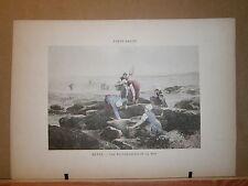 Gravure 19° 1899 couleur Peinture Beyle les travailleuses de la mer péche moule