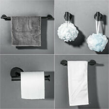 Matte Black 5 Pcs Bathroom Hardware Bath Accessory Set Wall-Mounted Towel Bar