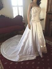 NWT  MORI LEE White Satin Strapless Wedding Dress Beaded Embroidered size 8  NEW