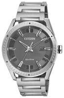 Citizen Eco-Drive Men's Gray Dial Silver-Tone Bracelet 42mm Watch BM6991-52H