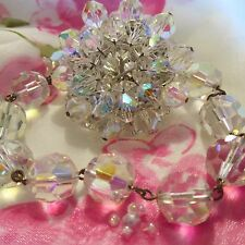 Vintage Clear Aurora Borealis Crystal Faceted Glass Brooch Bracelet Jewelry Set