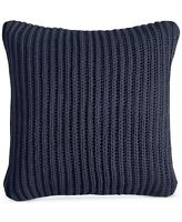 "Charter Club Damask Designs Sweater Knit 20"" Square Decorative Pillow NAVY i2195"
