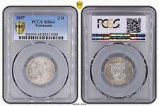 GUATEMALA - RARE 2 REALES SILVER UNC COIN 1897 YEAR KM#167 PCGS GRADING MS64