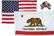 Wholesale Combo Usa & State of California 3x5 3'x5' Flag & Friendship Lapel Pin
