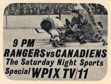 1963 WPIX NEW YORK TV AD~RANGERS NHL HOCKEY vs MONTREAL CANADIENS