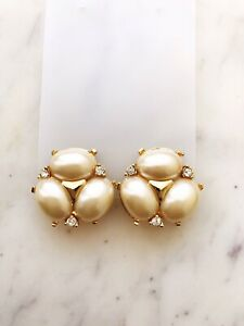 Pearl & Crystal Gold Earrings Vintage Style Hollywood Glamour Clip On