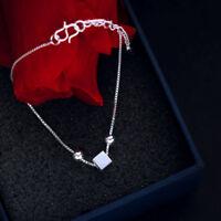 Women Jewelry Bangle Chain Bracelet 925 Silver Plated Beads Pendant Cuff Charm