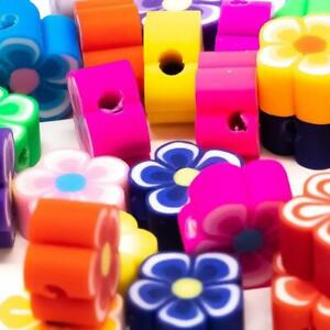 50 x Fimo Polymer Clay Plum Blossom Flower Beads 10mm. Assorted Bright Colours