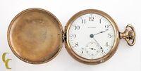 Waltham Antique Full Hunter Gold Filled Pocket Watch Gr 610 Size 16 7 Jewel