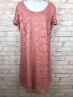 Lane Bryant Pink Overlay Lace Dress Cap Sleeve With Pockets Women's Size 14/16