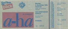 RARE / TICKET DE CONCERT LIVE - A HA / ZURICH SUISSE 1986 / COMME NEUF