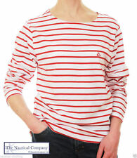 Long Sleeve Boat Neck Striped Tops & Shirts for Women