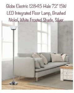 """Globe Electric Floor Lamp Model 12845-72"""" Tall, Brushed Nickel & Frosted White S"""