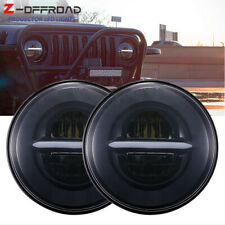 Pair LED Headlights 7 Inch Projector Round High Low Beam DRL Halo Ring Headlamp