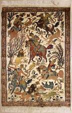 Rugstc 4x6 Pak Persian Ivory  Rug, Hand-Knotted,Pictorial Hunting,Silk/Wool