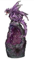 Crystal Cavern Dragon Figurine LED Light Ornament Statue Gothic Fantasy Gift