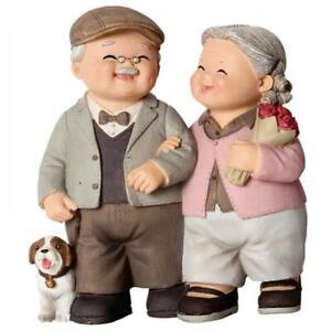 Happy Walk Couple Statue Romantic ElderlyCraft Ornament Home Figurine Decoration