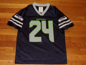 NFL TEAM SEATTLE SEAHAWKS MARSHAWN LYNCH FOOTBALL JERSEY BOYS LARGE EXCELLENT