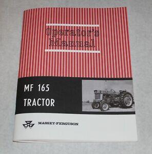 Massey Ferguson MF 165 Tractor Operators/ Owners Manual, Gas & Diesel, 1965-1979