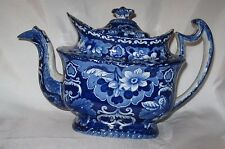 Staffordshire Teapot, Enoch Wood, 1830's, Floral Pattern, Intense Blue!