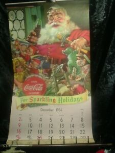 VINTAGE COCA COLA 1957 CALENDAR ADVERTISING CHRISTMAS PAPER