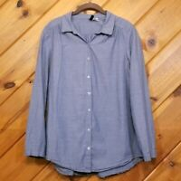 H&M Button Down Long Sleeve Shirt Size 6 Small Blouse Chambray Blue Womens Women