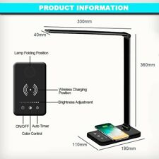 DEL Lampe de bureau avec Sans Fil Chargeur USB, Port de charge, bienser Lampe de table avec